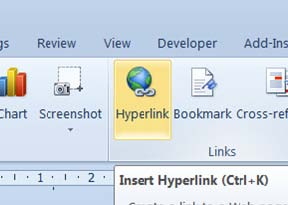how to use hyperlink in ms word 2007